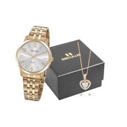 Kit Relógio Seculus Feminino Com Semi Joia 20864lp... - Fábrica do Ouro