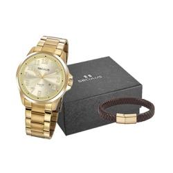 Kit Relógio Seculus Masculino Pulseira 20856gpsvda... - Fábrica do Ouro