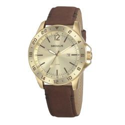 Relógio Seculus Masculino Couro 20912gpsvdc1 Marro... - Fábrica do Ouro