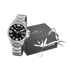 Kit Relógio Seculus Masculino Chaveiro Multiuso 20... - Fábrica do Ouro
