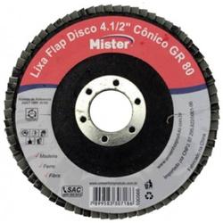 DISCO DE LIXA FLAP CONICO 4 1/2 GRAO 80 MISTER - 1... - Ferragem Igor