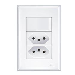 Interruptor Simples Com 2 Tomadas 10a 4x2 Evidence... - FERRAGENS & BAZAR