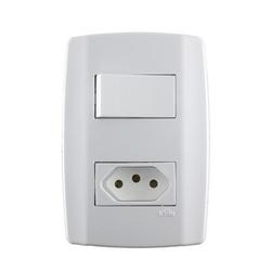 Interruptor 4x2 1 Seção + Tomada 10a Ref.80200 - FERRAGENS & BAZAR