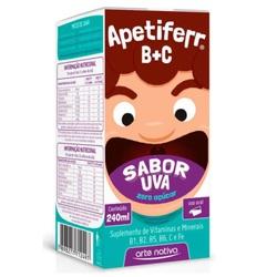 Apetiferr B+C Zero Açúcar Sabor Uva 240ml - 11603 - Fitoflora Produtos Naturais