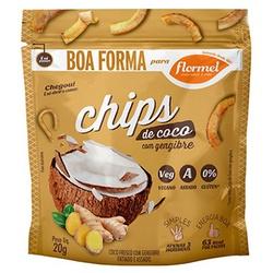 Chips de Coco com Gengibre Display 8 x 20g - 15182 - Fitoflora Produtos Naturais