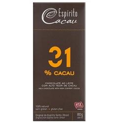 Chocolate ao Leite 31% Cacau 80g - 16863 - Fitoflora Produtos Naturais