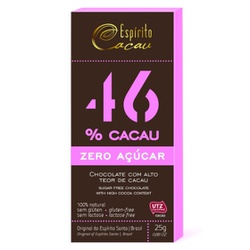 Chocolate 46% Cacau Zero Açúcar Display 10x25g - 1... - Fitoflora Produtos Naturais