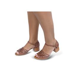 Sandália de Salto em Couro Conhaque - Flor de Couro | Sandálias e Botas Femininas