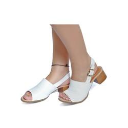Sandália de Salto Baixo em Couro Branco - Flor de Couro | Sandálias e Botas Femininas