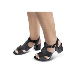 Sandália de Salto em Couro Preto - Flor de Couro | Sandálias e Botas Femininas