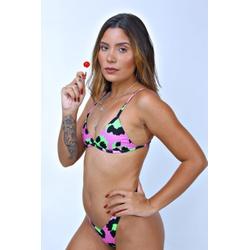 Conjunto Marina Onça Rosa/Verde ( Calcinha Dupla F... - Flor Do Rio