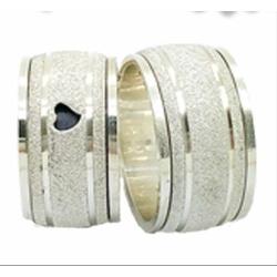Aliança Prata Diamantada Giratória 11mm(par) - A84... - FloriPratas