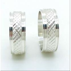 Aliança Prata Diamantada 6mm (par) - 135917 - FloriPratas