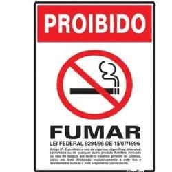 PLACA ALUMÍNIO PROIBIDO FUMAR SINALIZE - FLUZAO CONSTRUÇÃO