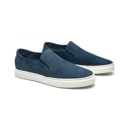 Tênis Slip On Parker Azul em Couro - Foco No Sapato