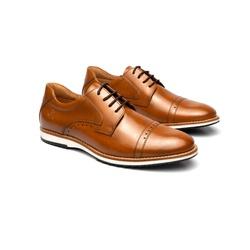 Sapato Casual Armand Whisky em Couro - Foco No Sapato