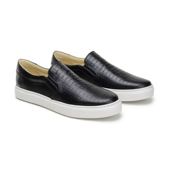 Tênis Slip On Brown Preto em Couro - Foco No Sapato