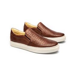 Tênis Slip On Brown Marrom em Couro - Foco No Sapato