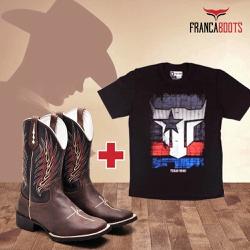 bota texana + 01 Camiseta - fb001 - FRANCABOOTS
