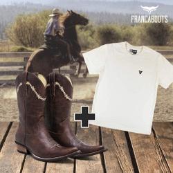 bota texana + 01 Camiseta - fb002 - FRANCABOOTS
