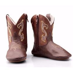 Texana Baby Country Couro cafe bordada - CP202231... - FRANCABOOTS