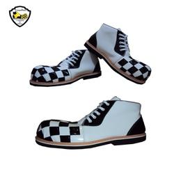 Sapato de Palhaço Quadriculado Branco/Preto Ref 60... - FRANPALHAÇO