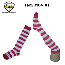 MEIA LISTRADA VERMELHA Ref MLV 01 - COD MLV 01 - FRANPALHAÇO
