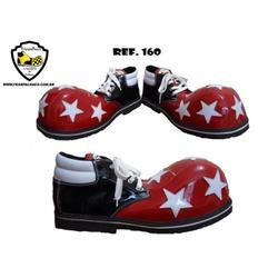 Sapato de Palhaço Preto/Vermelho/Branco com Estrel... - FRANPALHAÇO