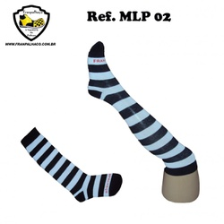 MEIA LISTRADA PRETA Ref MLP 02 - COD MLP 02 - FRANPALHAÇO