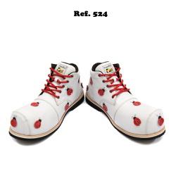Sapato de Palhaço Feminino Branco Joaninhas Ref 52... - FRANPALHAÇO