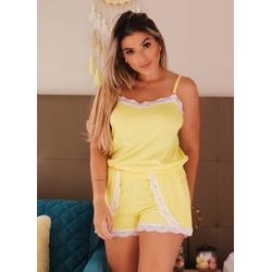 Pijama Verão Amarelo Rendinha em Viscolycra