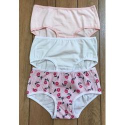 Kit 3 Calcinhas Infantis 02 Flores, Rosa Clara e Branca em Cotton