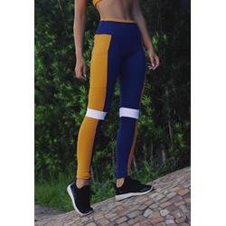 Calça Fitness Marinho Tricolor Recorte Damasco e Branco em Microfibra New Zealand