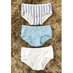 Kit 3 Calcinhas Infantis 02 Listrado Heart Azul Branco em Modal