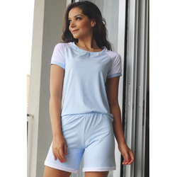 Pijama Verão Azul Bebê Poá Raglan em Microfibra