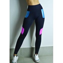 Calça Fitness Preta Tricolor Recorte Rosa em Microfibra New Zealand