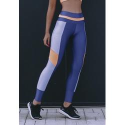Calça Fitness Marinho Tricolor Recorte Laranja e Azul Claro em Microfibra Trilobal