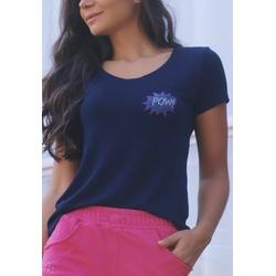 T-Shirt Canelado Liso Aplicação em Viscolycra