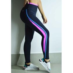 Calça Fitness Preta Curves Com Viés Rosa e Azul em Microfibra New Zealand