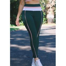 Calça Fitness Verde Escuro Recorte com Bolso e Cós Tricolor em Microfibra New Zealand