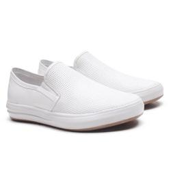 Sapatênis Gofer Couro Comfort Branco com detalhes ... - GOFERCALCADOS