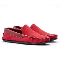 Mocassim Masculino Liso Conforto em Camurça Vermelho 100-DB
