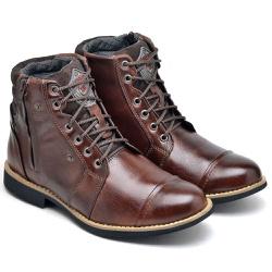 Coturno Masculino Telha Com Zíper Lateral 713 Boots Em Couro