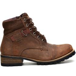 Boots Casual Masculino Botinha Coturno 765 Em Couro Castor