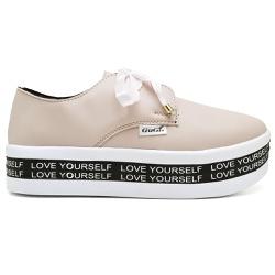Tênis Plataforma Feminino Rose Com Bordado Love Yourself