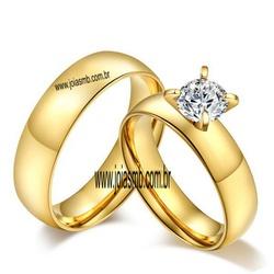 7078 - Alianças 5,5mm de Casamento Pedra Sintética - Joias MB