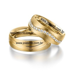 6055 - Alianças de Casamento Serrinha 7,3mm - Joias MB