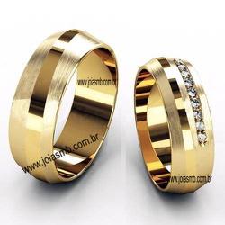 5444 - Alianças de Casamento Castanhal 8,4mm - Joias MB
