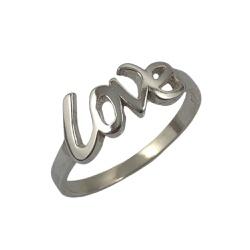 Anel Escrito Love em Prata 925