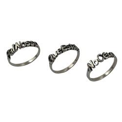 Trio de Anéis Escrito Pai Nosso em Prata 925